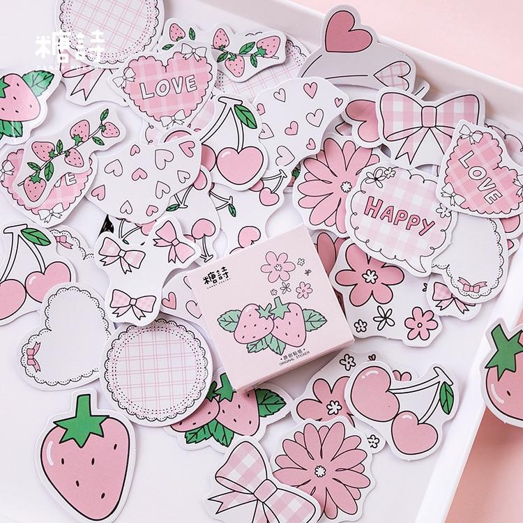 Serie de sabores de fresa momm, pegatinas bonitas en caja Kawaii, planificador de recortes, papelería, pegatinas japonesas para diario