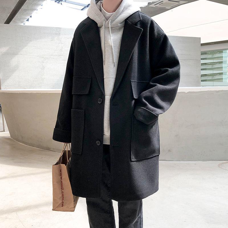 Пальто мужское шерстяное свободного покроя, однотонное, в стиле оверсайз