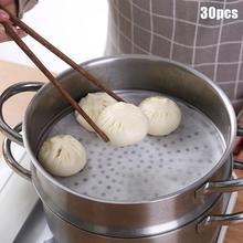 Outil de cuisson jetable antiadhésif   Autocuiseur jetable de cuisine 30 pièces pour petits pains et boulettes en papier tampon de cuisson
