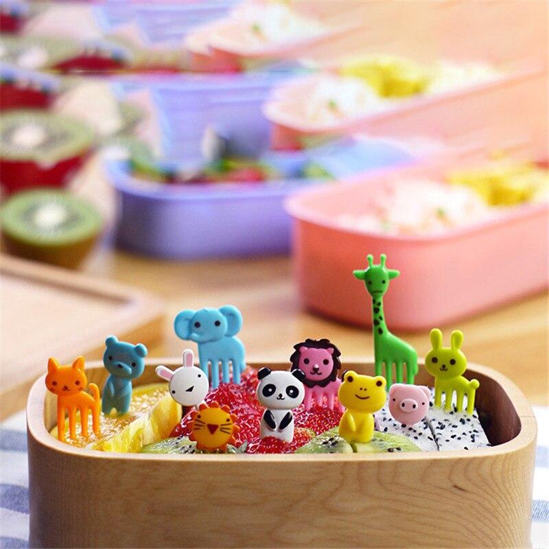 Mini Tenedor de fruta para granja de animales, 10 Uds., de dibujos animados para niños, postre de pastel de merienda, comida, fruta, palillo, Bento, Lunches, decoración para fiesta