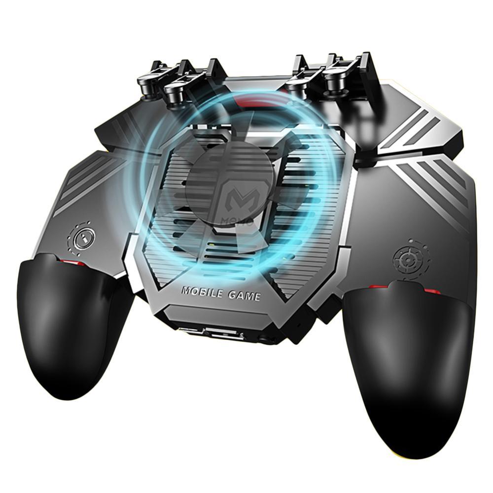 AK77, seis dedos, 4,7-6,5 pulgadas, controlador de disparo Universal, Mando de teléfono móvil, ventiladores duales, refrigerador, prensa física, agarre de juego para PUBG