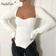 Nadafair automne tricoté pull femmes blanc à manches longues mince pull col carré Vintage pull haut pull 2020 hiver
