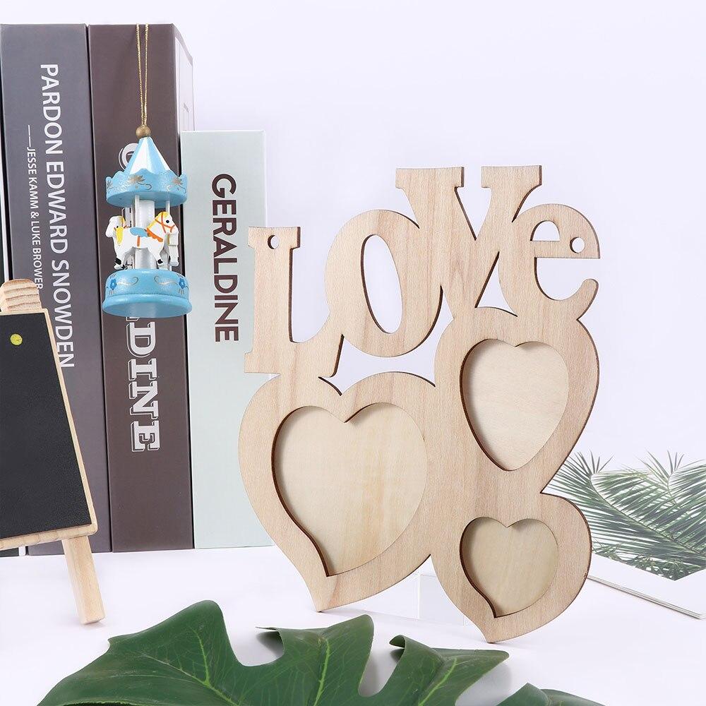 Wooden Photo Frame DIY Love Shape Durable Mini Family Photo Frame Christmas Home Decor Accessories Porta Retrato Rahmen 1Pc