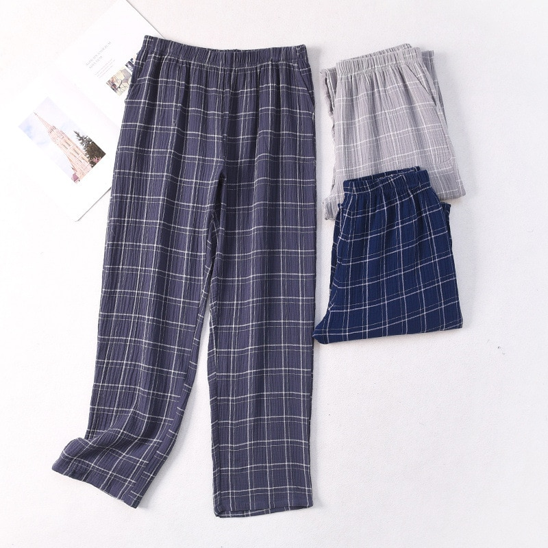 New Mens Plaid Gauze Sleep Bottoms Knitted Cotton Lounge Wear Loose and Soft Pyjamas Trousers Plus S