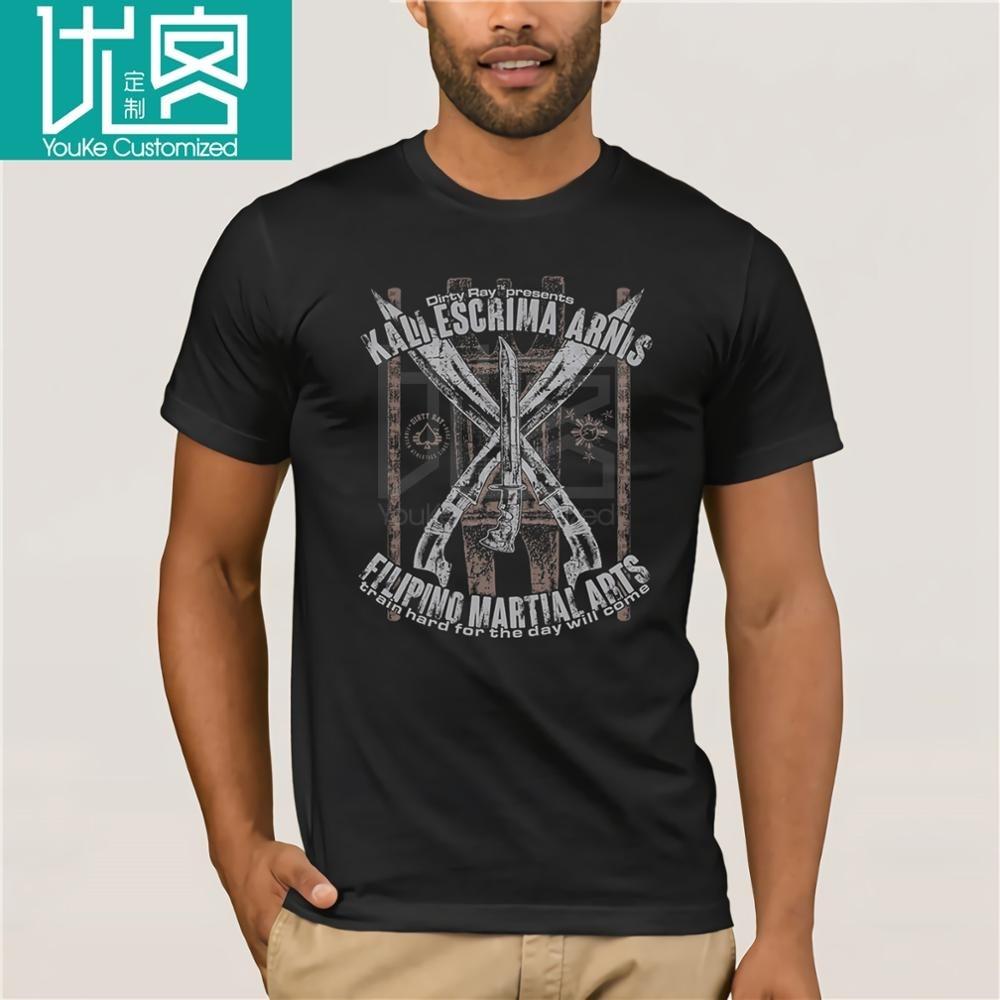 Camiseta Suja Ray Escrima Arnis Kali Filipino Artes Marciais T-Shirt Dos Homens de Manga Curta