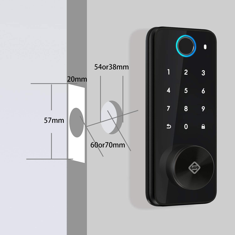 PINEWORLD Q106 Tuya Bluetooth Fingerprint Keyless Entry Smart Door Lock Deadbolt  Auto Indoor/Outdoor Electronic Keypad Lock