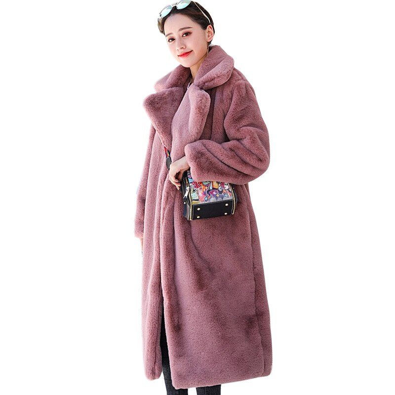 winter jacket outerwear women high quality faux rabbit fur coat loose lapel overcoat thick warm female plush coats f108 High Quality Faux Rabbit Fur Coat Winter Women Luxury Long Fur Coat Loose Lapel OverCoat Thick Warm Plus Size Female Plush Coats