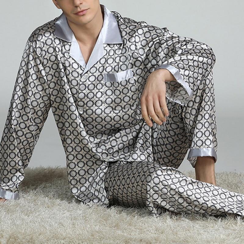 Mens Stain Silk Pajama Sets Pajamas Men Sleepwear Modern Style Silk Nightgown Home Male Satin Soft Cozy Sleeping