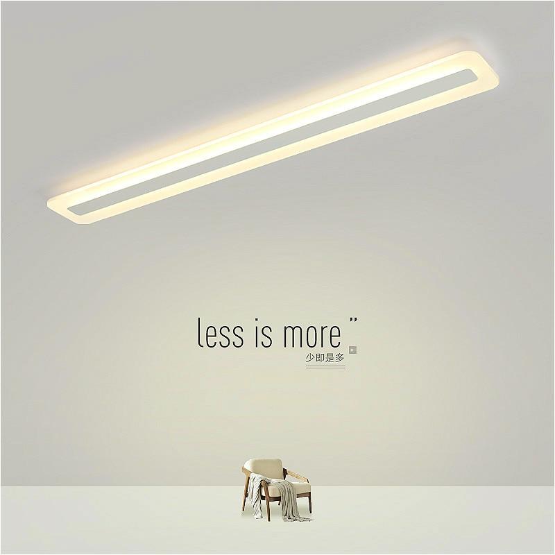 White rectangular LED ceiling lamp modern minimalist bedroom living room aisle ceiling lamp office dining room recessed lamp