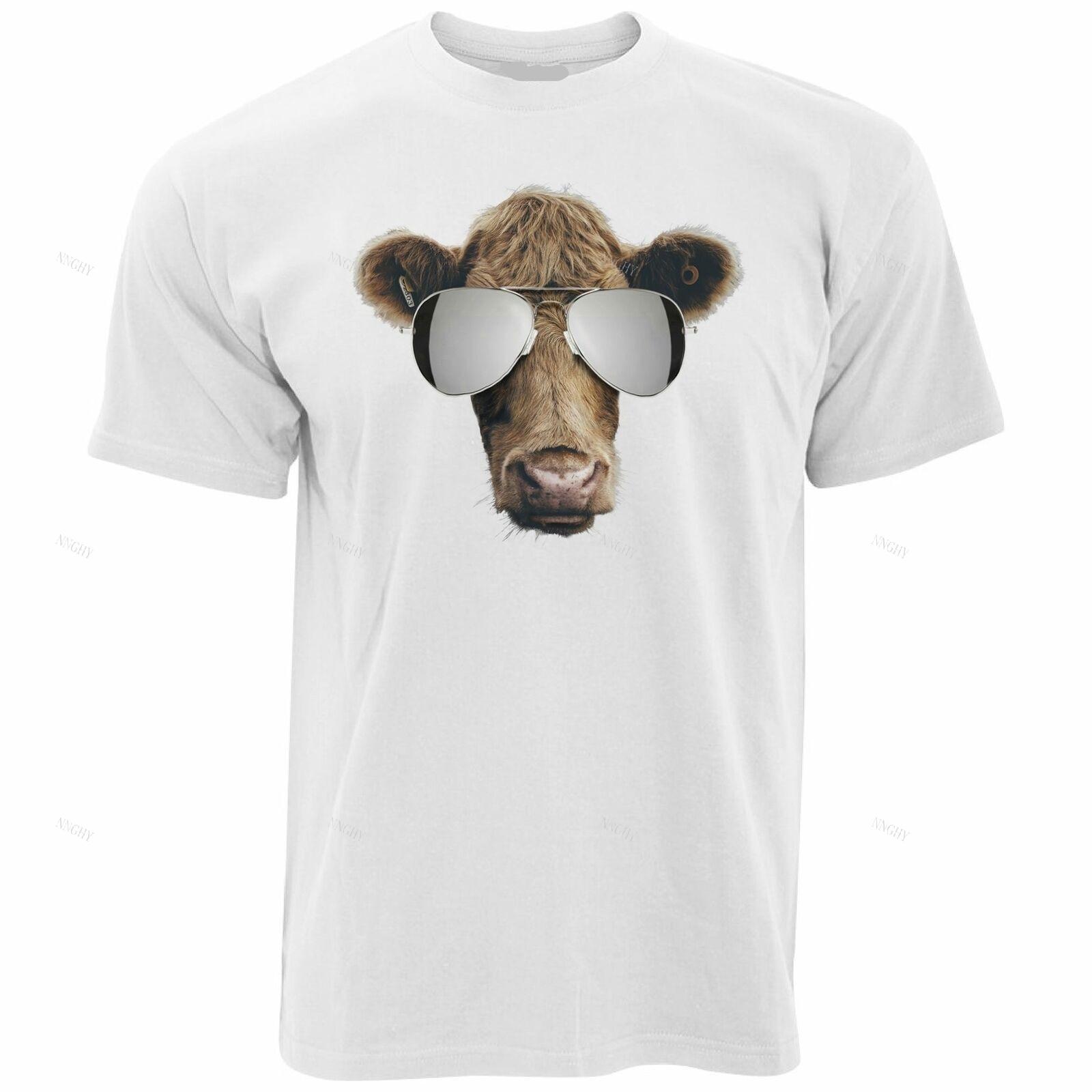 Summer Art T Shirt Cow Wearing Aviator Sunglasses Silly Stylish Hipster
