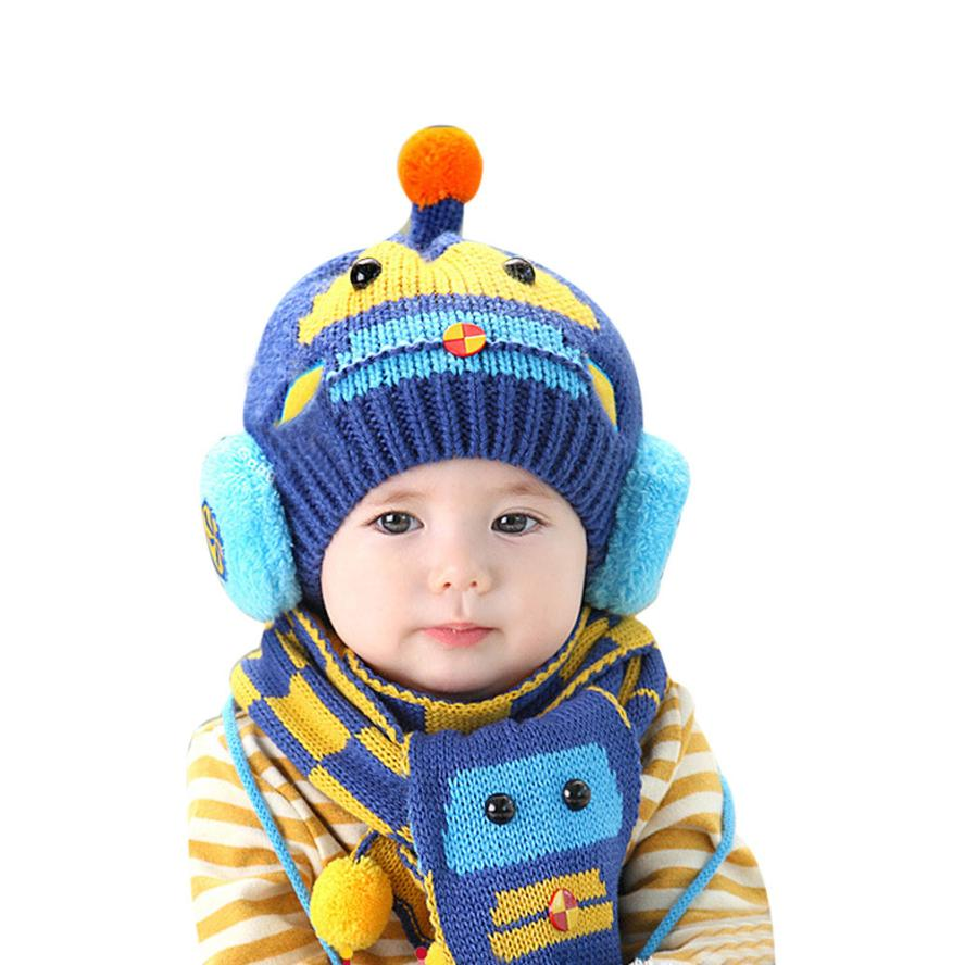 Baby Knitted Hat and Scarves Set Newborns Thick Caps Scarf Protect Ears Girls Warm Snood Boys Crochet Bonnet Lovely Infant Gifts