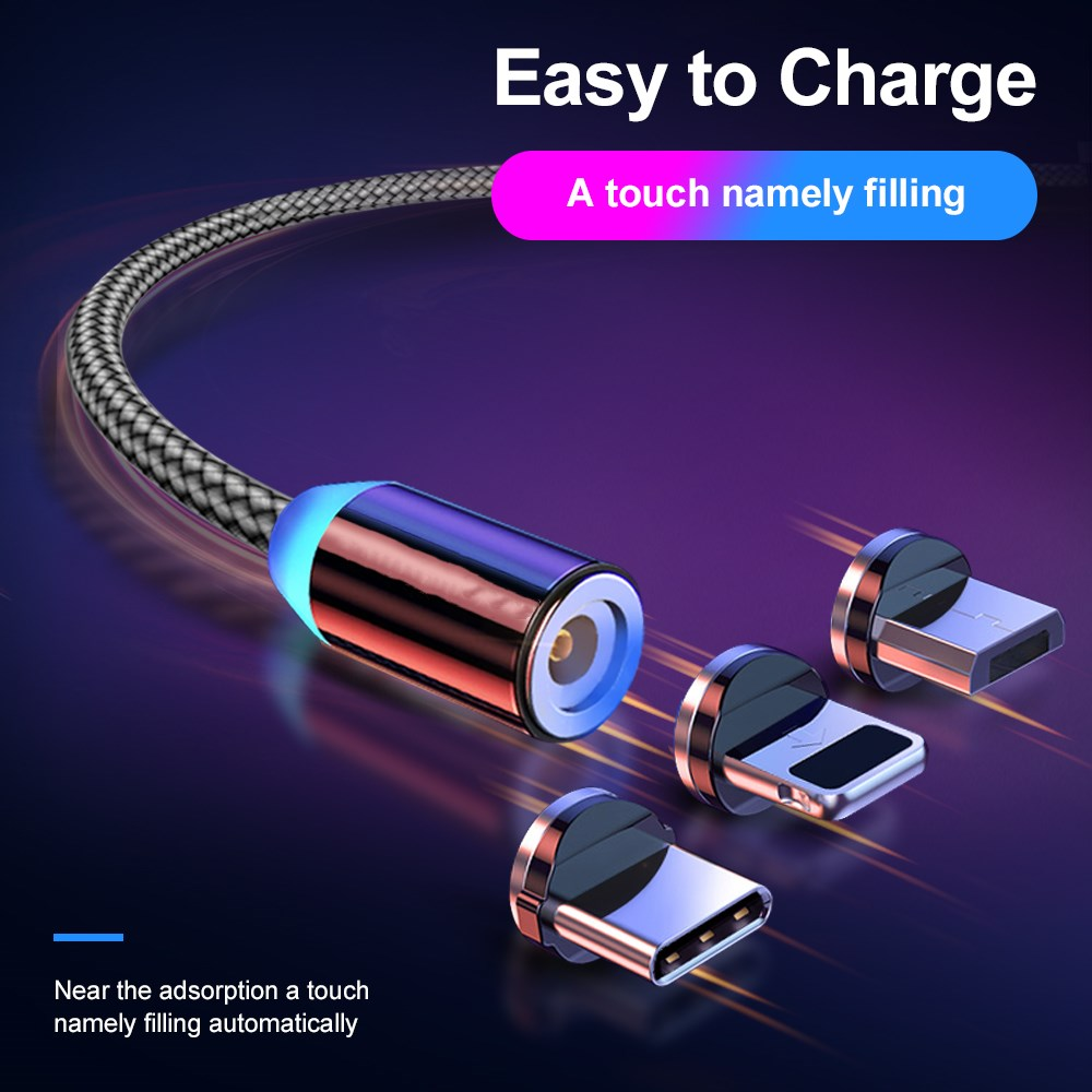 1/2m Magnetic USB Type C Cables 3 in 1 Micro USB For Xiaomi iPhone 8/11 xr Mobile phone Accessories