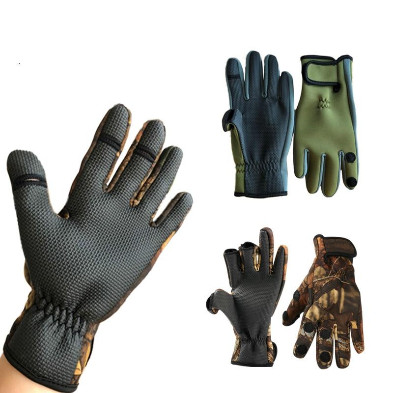 Guantes de pesca para deportes al aire libre, guantes de invierno cálidos para montar, dedos completos, antideslizantes, impermeables, transpirables, pueden mostrar tres dedos