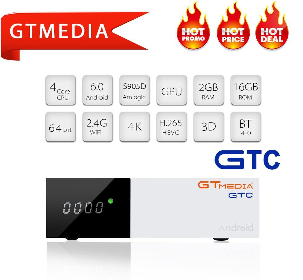 GTC GTMEDIA DVB T2 S2 C ISDB-T DVB-T2 DVBT2 Sintonizador decodificador iptv BOX TV android TV BOX suporte cccam IPTV m3u smart tv Set Top Box