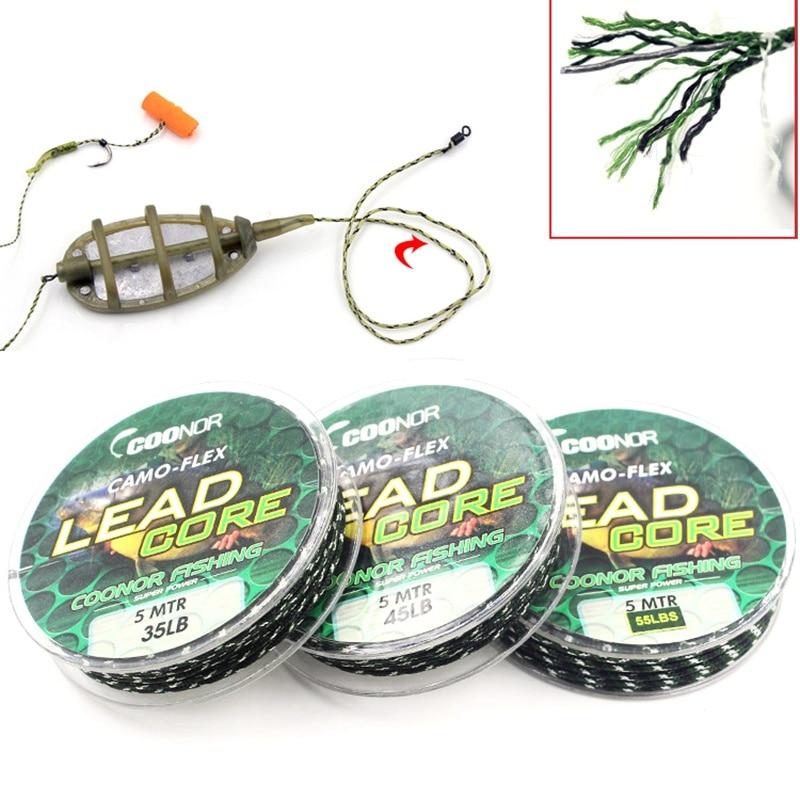 35lb 45lb 55lb 5m línea de pesca Leadcore camuflaje café carpa trenzada línea de pelo Rigs plomo Core equipo de accesorios de pesca