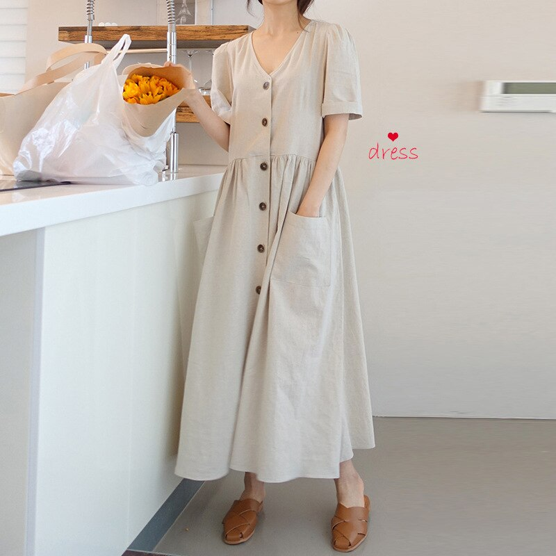black v neck long sleeves casual sweaters with side pockets Women's V-neck short sleeves with buttons and pockets cotton and linen series casual loose long skirt