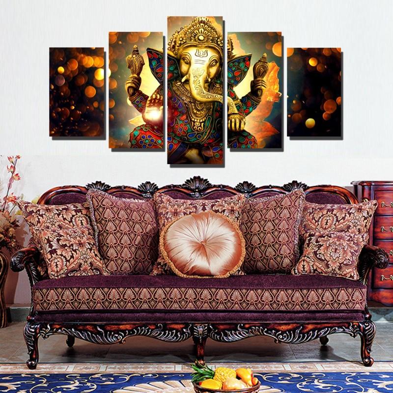 Cuadro moderno con diseño de elefante de Ganesh, arte de Dios indio, lienzo impreso, cuadros de pared para decoración artística de pared de salón