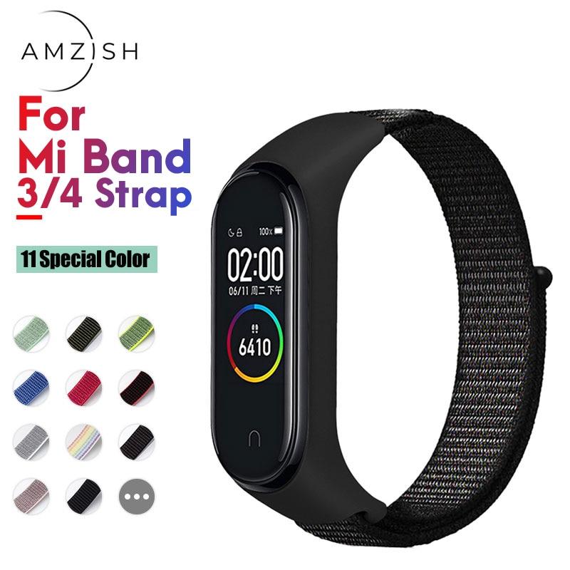 Amzish Nylon Strap For Mi Band 4 3 Wristband Breathable Bracelet For Xiaomi Mi Band 4 Strap 3 Miband