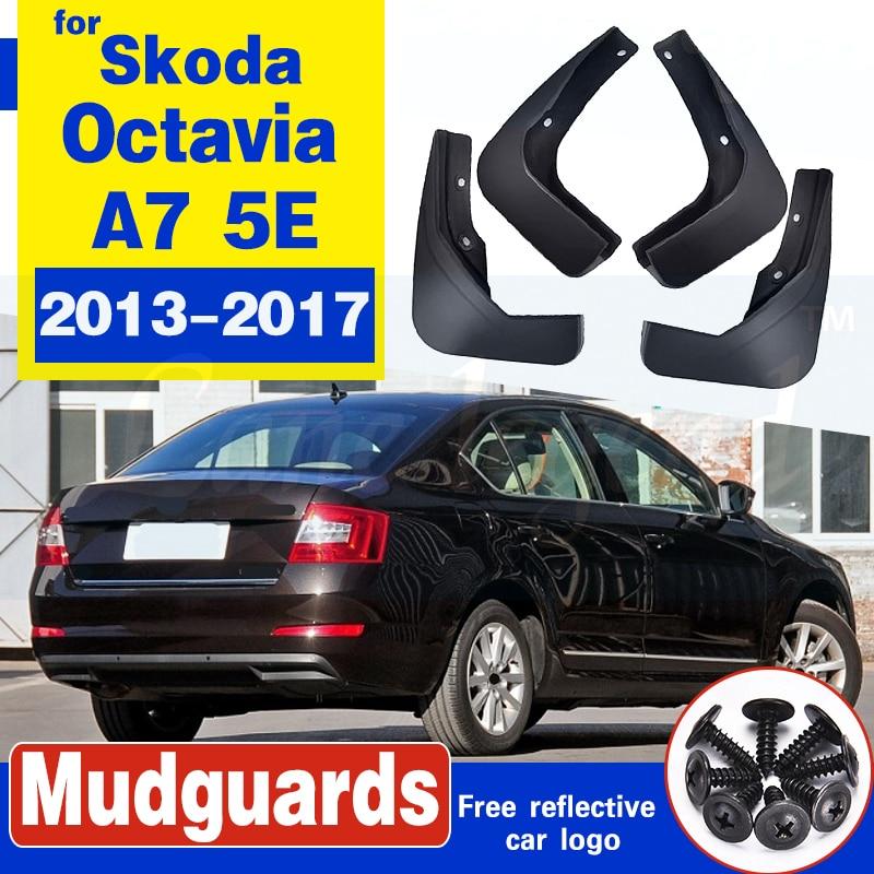 Set Molded Car Mud Flaps For Skoda Octavia A7 5E 2013-2017 Mudflaps Splash Guards Mud Flap Mudguards Fender Front Rear Styling