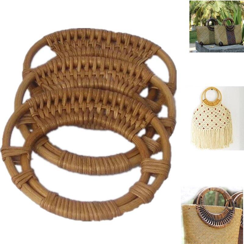 Круглая ручка для сумок из ротанга 2021, ручка для сумок, ручка для сумок «сделай сам», вешалка для сумок с деревянным бамбуковым ремешком, сол...