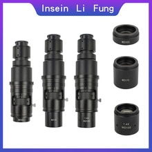 Microscope vidéo monoculaire Zoom objectif c-mount 10X-300X loupe Zoom continu mise au point complète pour caméra industrielle HDMI VGA USB