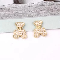 5pcslot alloy rhinestone gold pearls bear pendant buttons ornaments jewelry earrings choker hair diy jewelry accessories