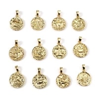 copper charms gold color metal round constellation pendants diy making necklace women men punk style party jewelry gifts1piece