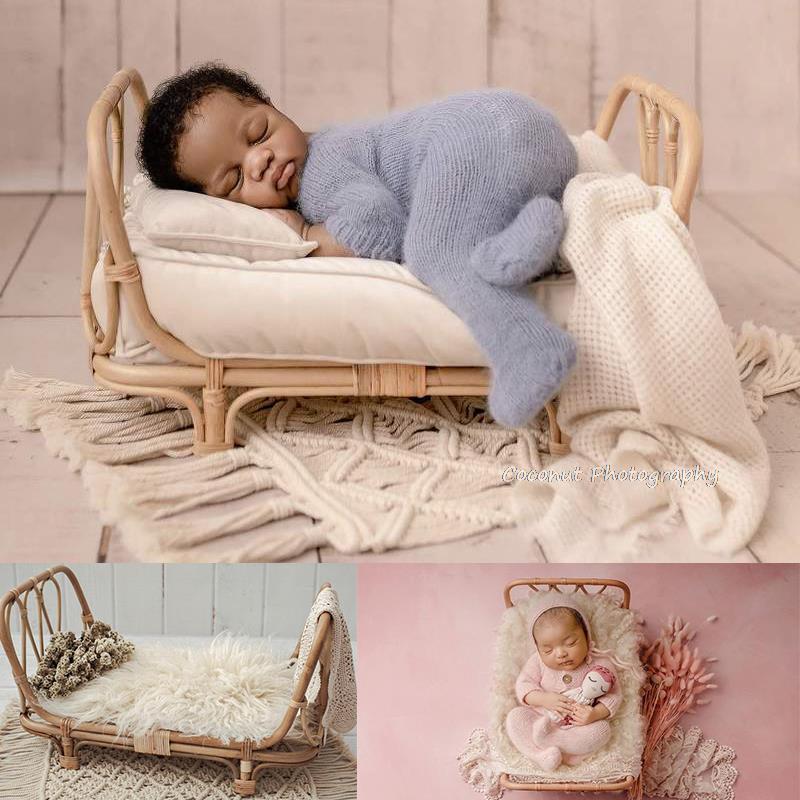 Handmade Retro Woven Rattan Bed Portable Props Newborn Photography Accessories for Bebe Photo Studio Baby Shoot Posing Props