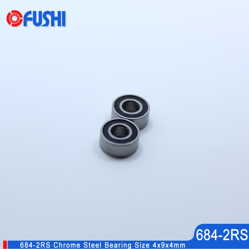 Rodamiento 684-2RS 4x9x4mm 10 Uds doble sellado miniatura Ranura Profunda 684 2RS rodamientos de bolas 684 RS