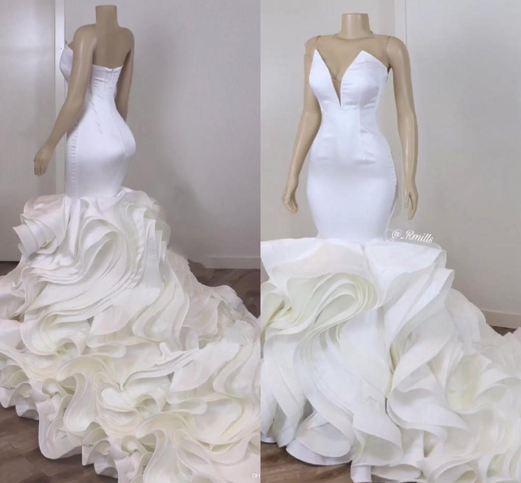 مثير حورية البحر العروس البوق فساتين الزفاف الساتان الأورجانزا الكشكشة تنورة كاتدرائية القطار الأفريقي المرأة الأبيض فساتين الزفاف 2021