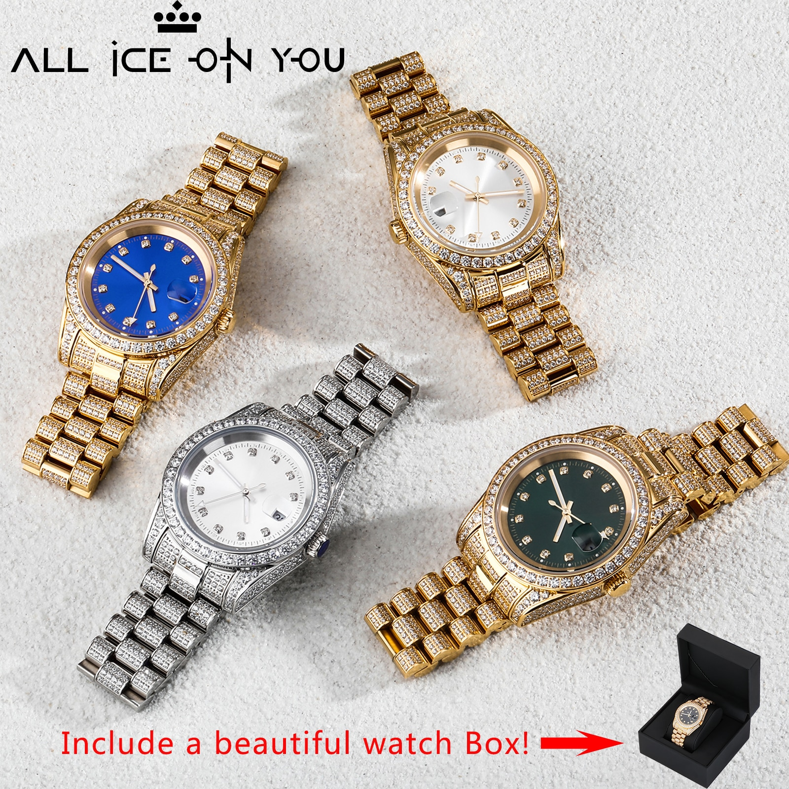 2021 New Masculino Men Watches Bracelet Stainless steel Luxury Famous Top Brand Men\'s Fashion Iced Out Quartz Wristwatches Box