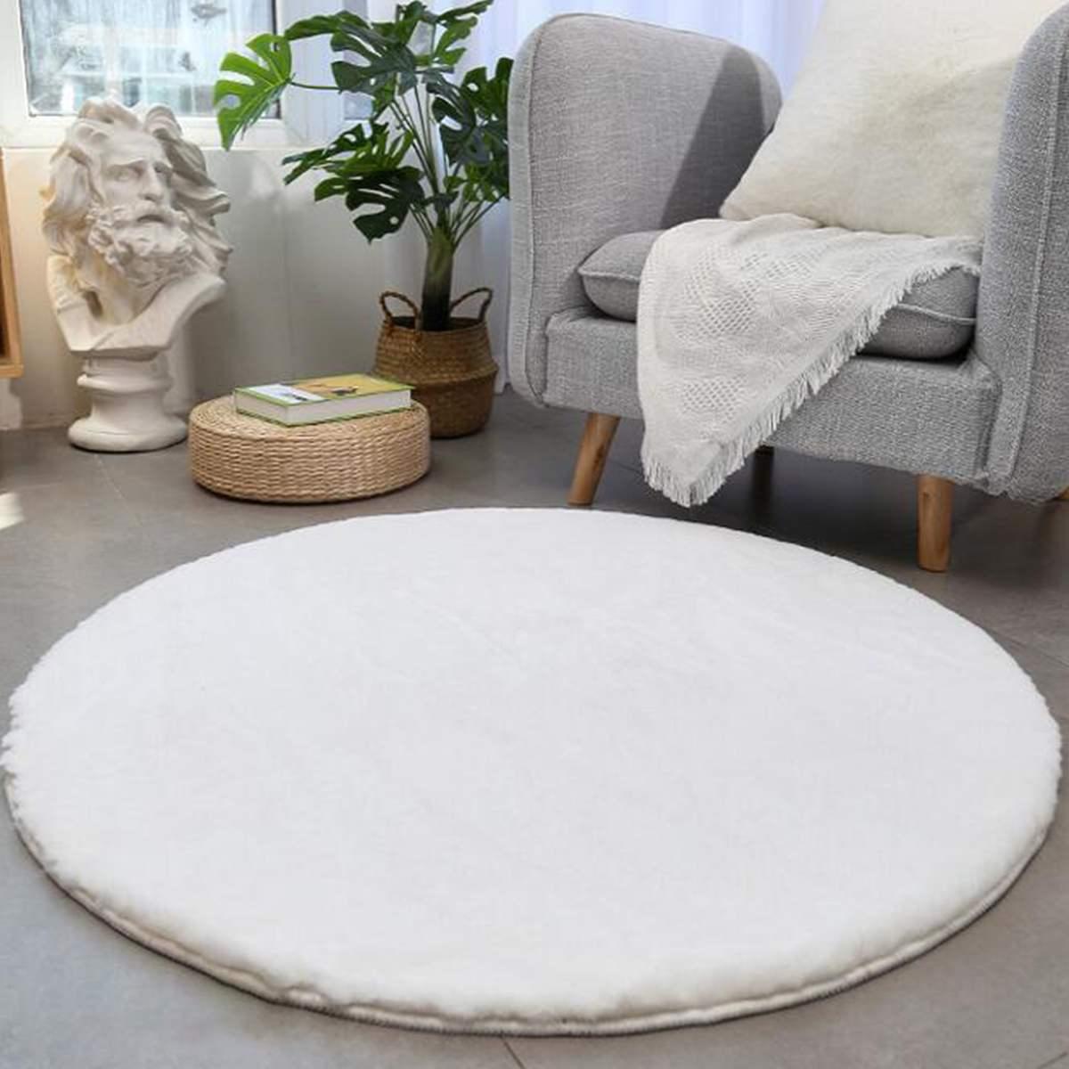 سجادة أرضية دائرية أشعث 100 سنتيمتر ، قطيفة صناعية ، ديكور منزلي ، لغرفة النوم ، غرفة المعيشة ، طاولة السرير