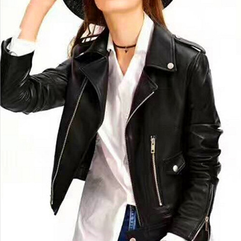 Motorcycle Leather Women's Short Leather Jacket Red Black PU Motorcycle Leather Jacket 2020 Autumn Women Fashion Coat Women enlarge