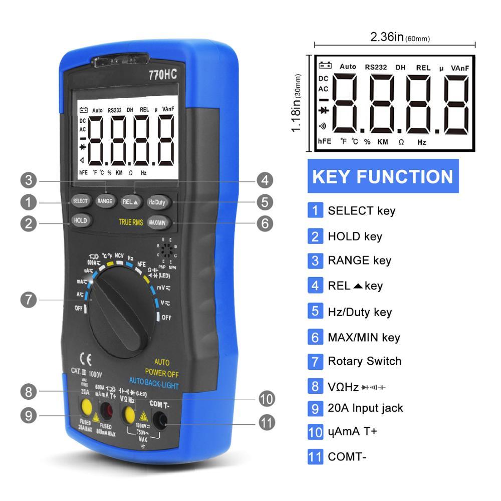 مقياس رقمي متعدد 770HC ، نطاق تلقائي ، تيار متردد/تيار مستمر ، RMS حقيقي مع ميزة NCV واختبار درجة الحرارة/التردد/دورة العمل