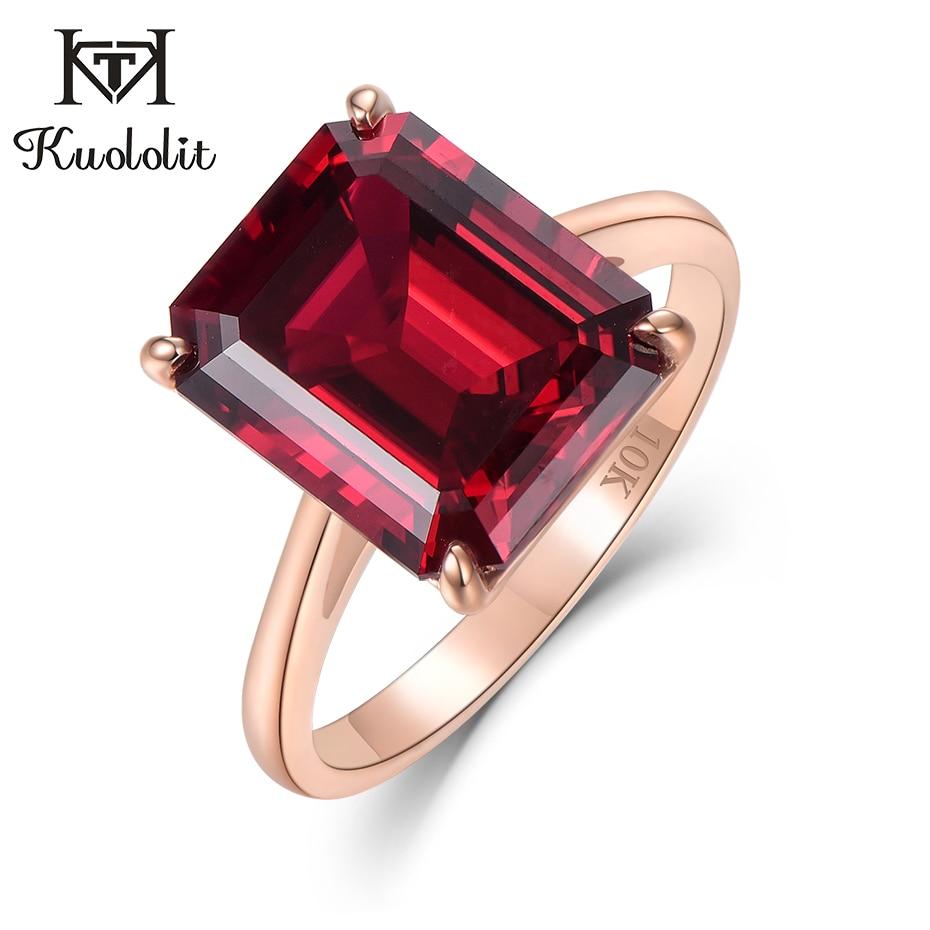 Kuololit, 7,4 CT, 10K, oro sólido, anillo de rubí para mujer hecho en laboratorio, 10x12mm, anillos de oro rosa rubí, joyería fina de compromiso para novia