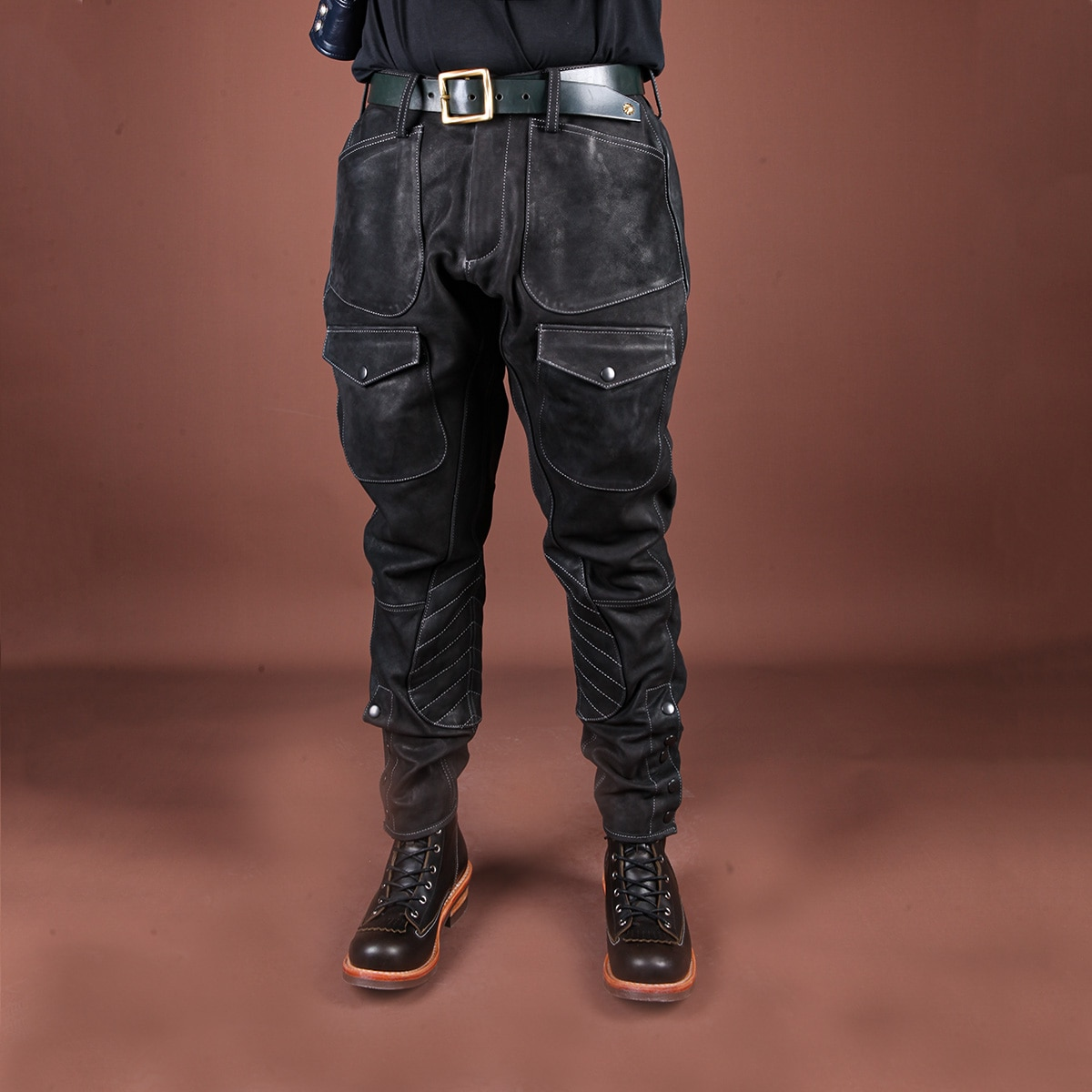 SDP731 RockCanRoll Genuine Cow Leather Motorcycle Rider Pants Vintage Heavy Thick Durable Stylish Cowhide Trousers