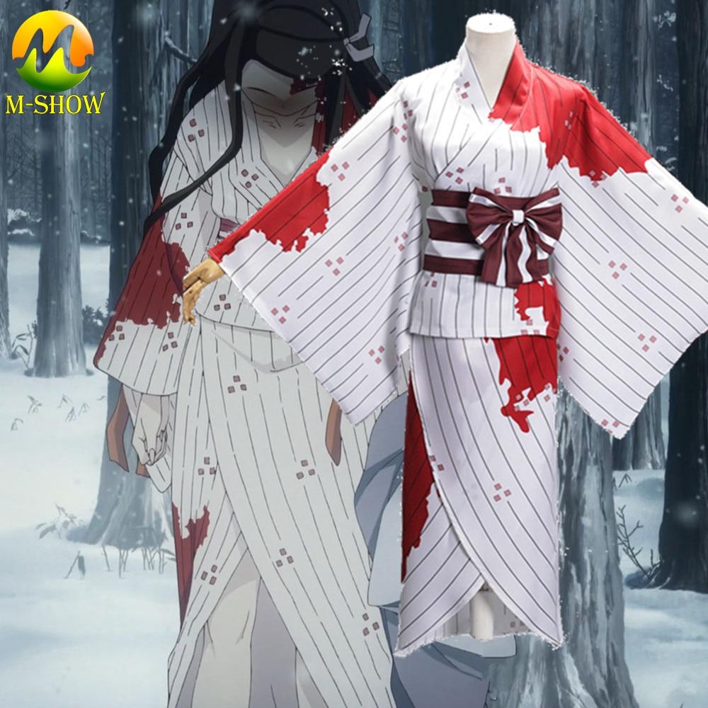 Anime Kimetsu Geen Yaiba Kamado Nezuko Kimono Bloed Bevlekte Pak Demon Slayer Cosplay Kostuum Japansese Kimono Uniform Voor Vrouwen
