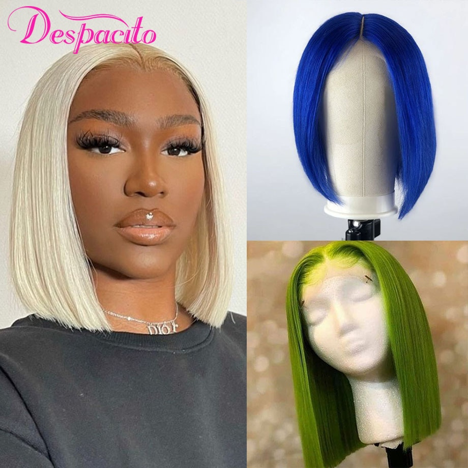 Colored Human Hair Wigs 4x4 Lace Closure Bob Wig Cosplay Pre Plucked Silk Base Brazilian Bone Straight Cheap Lace Wigs for Women
