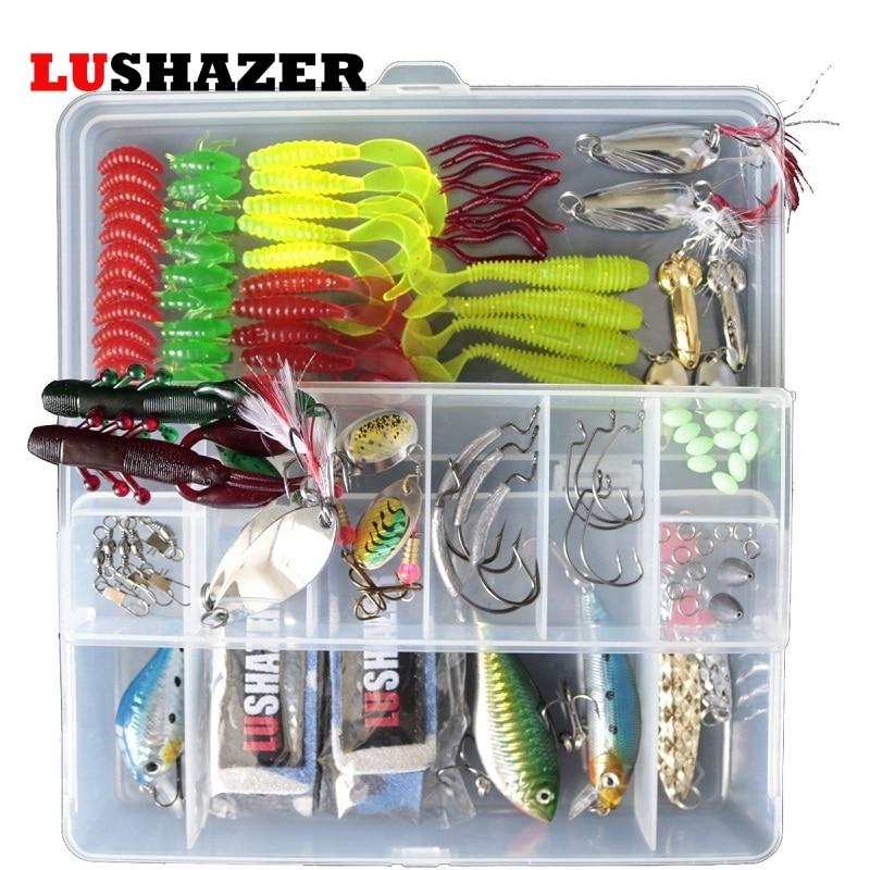 105pcs/lot LUSHAZER Fishing Lure Soft Bait DD Spoon Spinner Baits Jig Hooks Hard Lures Swivel with box