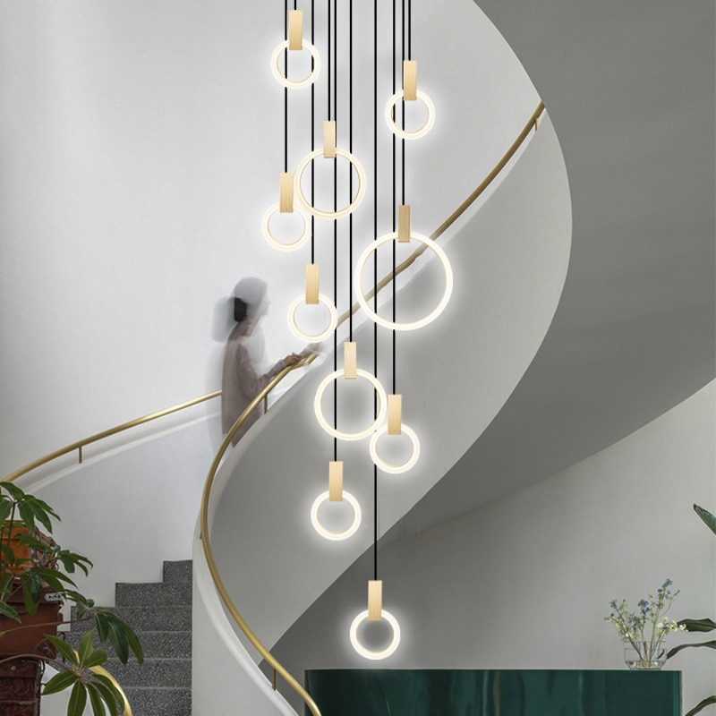 Modern Chandelier Duplex Building Villa Stairwell Lighting Acrylic Rings Suspension Nordic Lamp Long Gold Circular Chandelier