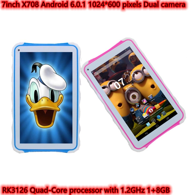كمبيوتر لوحي صغير X708 بشاشة 7 بوصة رباعي النواة يعمل بنظام الأندرويد 6.0.1 وكاميرا مزدوجة 1024 × 600 بيكسل 1 + 8 جيجابايت يدعم WIFI للأطفال الذين يتعلمون...