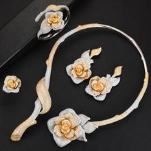 missvikki Luxury Flower Blossom Cubic Zircon CZ Nigerian Jewelry set For Women Wedding Dubai African Bridal Jewelry Set Bohemia