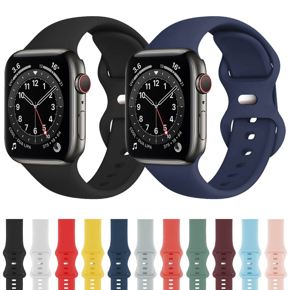 sports silicone for apple watch band 42mm 38mm 40mm 44mm smart watchbands wrist bracelet strap for i watch series 5 4 3 2 1 belt Sports Silicone Strap For Apple Watch Band Series 2 3 4 5 6 SE Bracelet Watchband For iWatch 44mm 42mm 40mm 38mm Wristband Belt