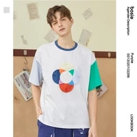 bosie t shirt loose printing splicing fashion summer new male couple student female short sleeved shirt tide 02298