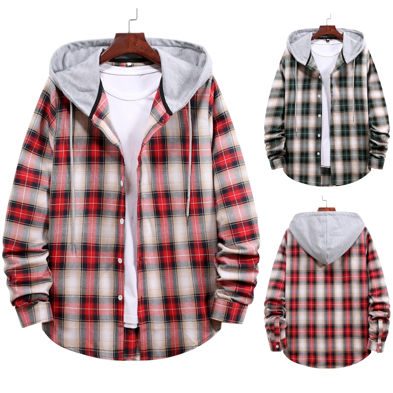 Мужская модная клетчатая рубашка с капюшоном и длинным рукавом, Молодежная рубашка большого размера, клетчатая рубашка, пальто