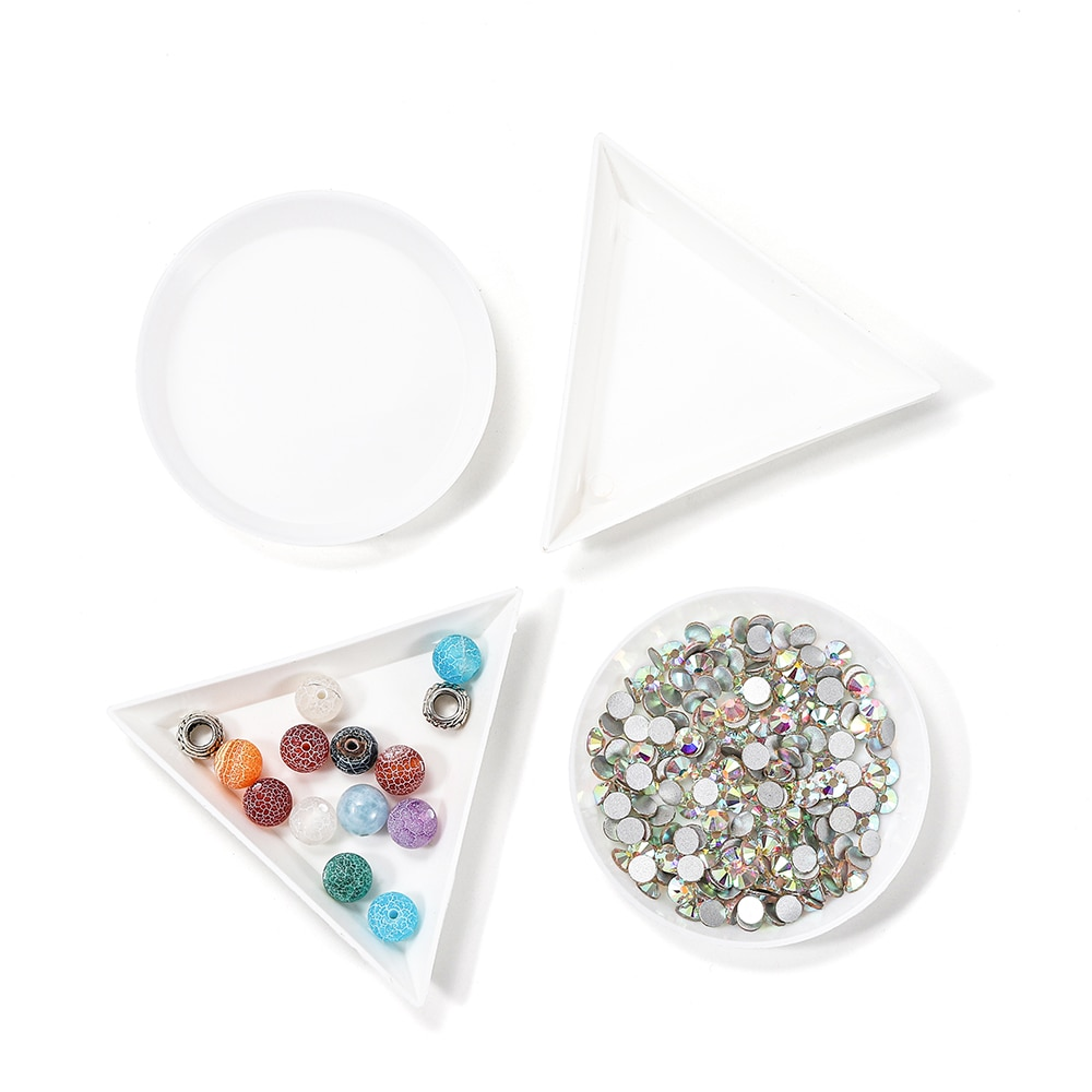 10pcs/lot beauty nail Dotting rhinestone Triangle Round Plate For Jewelry Beads Display Plastic Tray