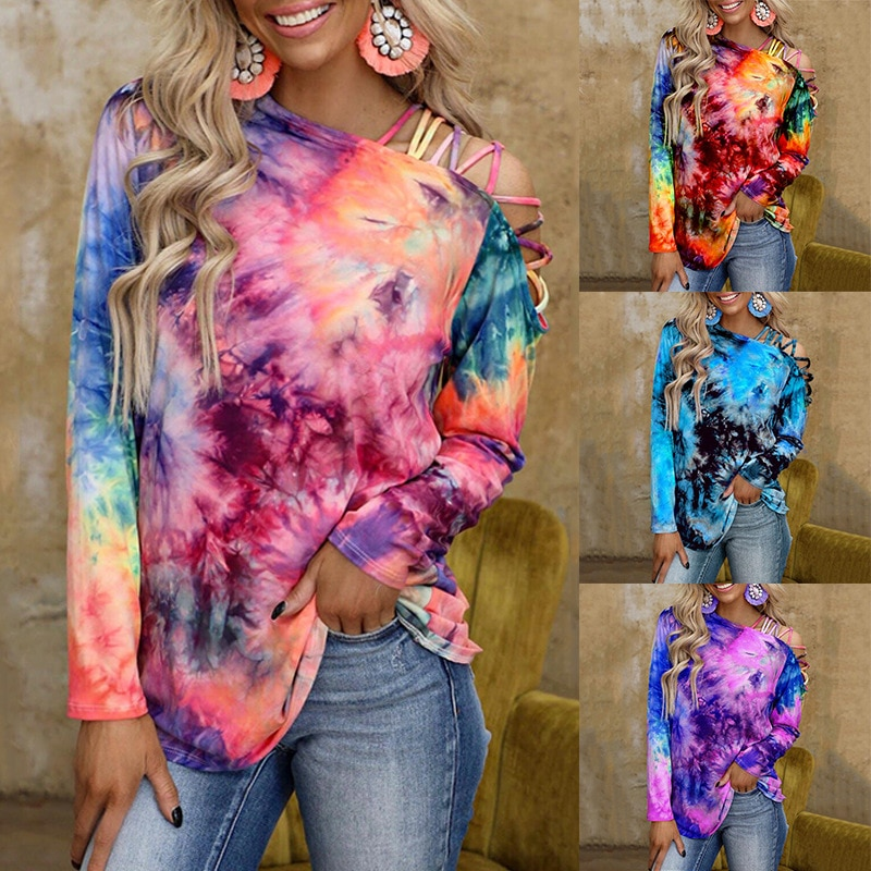 Для женщин размера плюс свободная повседневная цветная печать пуловер Круглый воротник Длинные рукава женские футболки с рисунками из мул...