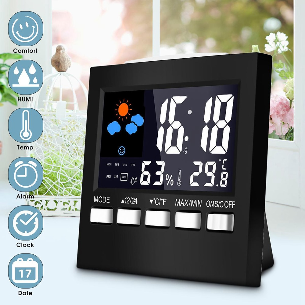 LCD Digital Thermometer Weather Station Clock &Alarm Clock Calendar Room Home Hygrometer Termometer