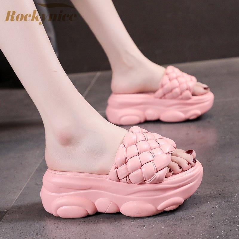Summer Platform Slippers Woman Slides Outdoor Beach Shoes Women Wedges Non-slip Sandals Flip Flops f