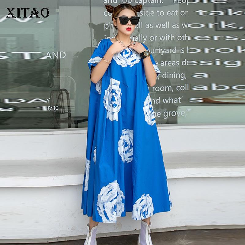 XITAO Tide-فساتين مطبوعة كبيرة الحجم للنساء ، ملابس صيفية ، موضة جديدة ، كنزة فضفاضة ، فستان بأكمام قصيرة ، ZY6167 ، 2021